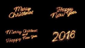Gruß des neuen Jahres der frohen Weihnachten des Wunderkerzetextes Lizenzfreies Stockfoto