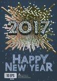 Gruß des neuen Jahres 2017 mit isometrischer Kunstart Lizenzfreies Stockfoto