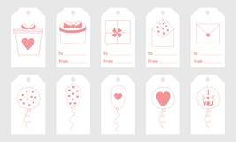 Gruß etikettiert mit nette Hand gezeichneten Elementen für Valentinsgruß ` s Tag Lizenzfreies Stockfoto