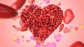 Gruß für Valentinstag mit bunten Herzen stock abbildung