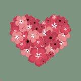 Gruß-Karte über Liebe Herz von den roten und rosa Blumen Stockfotos