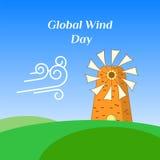 Gruß-Karte des globalen Wind-Tages Stockfotos