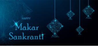 Gruß-Karte Makar Sankranti mit blauen polygonalen Drachen Stockbild
