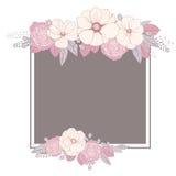Gruß-Karte mit Blumen Eleganz romantisches Innersymbol auf einem warmen Hintergrund Vektor illustrat lizenzfreie abbildung