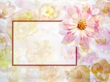 Gruß-Karte mit Blumen handmade Adobe Photoshop für Korrekturen Lizenzfreies Stockfoto
