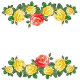 Gruß-Karte mit den roten und gelben Rosen Stockbild