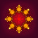 Gruß-Karte mit Lit-Lampen für Diwali Lizenzfreies Stockfoto