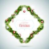 Gruß-Karte mit Weihnachtsattributen Stockfotos