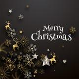 Gruß-Kartendesign der frohen Weihnachten verziert mit Festival Orn vektor abbildung