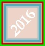 Gruß-Kartendesign des guten Rutsch ins Neue Jahr 2016 kreatives Stockbild