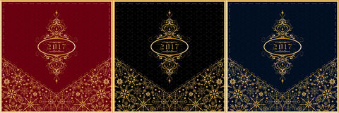 Gruß-Kartensatz 2017 des neuen Jahres Vektor Stockfotos