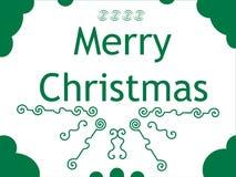 Gruß mit Weihnachten auf einem weißen Hintergrund mit gree Lizenzfreie Stockfotos