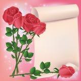 Gruß- oder Einladungskarte mit roten Rosen Stockfotografie