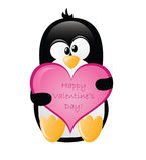 Gruß-Pinguin des Valentinsgrußes Lizenzfreie Stockfotos