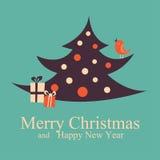 Gruß-Weihnachten und neues Jahr kardieren Weihnachtsbaum Lizenzfreie Stockbilder