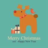 Gruß-Weihnachts- und des neuen Jahreskarte mit Rotwild Lizenzfreies Stockfoto