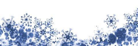Grußfahne mit blauen Schneeflocken und eisigem Muster Handgemalte Illustration Stockbild