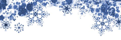 Grußfahne mit blauen Schneeflocken und eisigem Muster Handgemalte Illustration Lizenzfreies Stockbild
