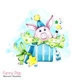 Grußfeiertagsillustration Aquarellkarikaturschwein in der Geschenkbox mit Sternen und Konfettis Lustige Überraschung Geburtstag lizenzfreie abbildung