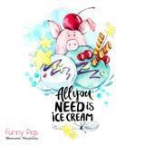 Grußfeiertagsillustration Aquarellkarikaturschwein mit Beschriftung und Creme Lustiger Nachtisch Parteisymbol Geschenk lizenzfreie abbildung