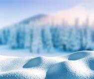 Grußhintergrund der frohen Weihnachten und des guten Rutsch ins Neue Jahr mit Kopienraum Mysteriöse Winterlandschaftsmajestätisch Stockfotografie