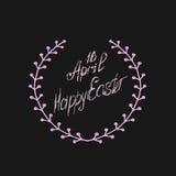Grußkarte am 16. April, lokalisierte Kalligraphiebeschriftung, fröhliche Ostern, Wortdesignschablone Stockfotografie
