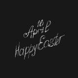 Grußkarte am 16. April, lokalisierte Kalligraphiebeschriftung, fröhliche Ostern, Wortdesignschablone Stockbilder