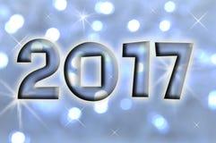Grußkarte 2017 auf blauer glänzender Lichterkette Stockfotografie