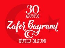 Grußkarte am 30. August Victory Day Turkey Übersetzung: Am 30. August Feier des Sieges und der Nationaltag in der Türkei zafer Bu stock abbildung