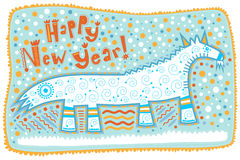 Grußkarte, dekorative Ziege, guten Rutsch ins Neue Jahr! Lizenzfreie Stockfotografie