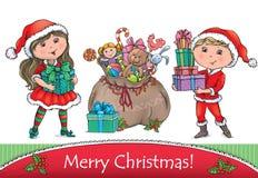 Grußkarte der frohen Weihnachten Stockfotografie