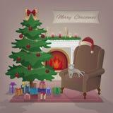 Grußkarte der frohen Weihnachten Ein gemütlicher Hauptinnenraum mit einem brennenden Kamin, Lehnsessel, Katze, Weihnachtsbaum, Ge Lizenzfreies Stockfoto