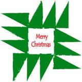 Grußkarte der frohen Weihnachten Geometrische Tannenbaumverzierung mit Gutshofrändern Stockfotos