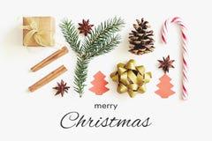 Grußkarte der frohen Weihnachten Geschenkbox, Band, Tannenzweige, Kegel, Sternanis, Zimt, Zuckerstange und PapierWeihnachtsbaum a lizenzfreie stockfotografie
