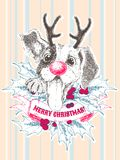 Grußkarte der frohen Weihnachten Glücklicher Spürhundwelpe mit dem Geweih, den Stechpalmenbrunchs und den Beeren lizenzfreie abbildung