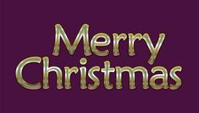 Grußkarte der frohen Weihnachten Goldener glühender Retro- Guss Vektor-Feiertag auf purpurroter Farbe Stockfotos
