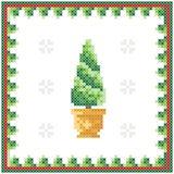 Grußkarte der frohen Weihnachten, guten Rutsch ins Neue Jahr-Illustration Weihnachtsbaum mögen Kreuzstich vektor abbildung