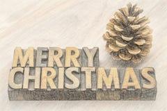 Grußkarte der frohen Weihnachten in der hölzernen Art Stockfotografie