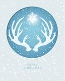 Grußkarte der frohen Weihnachten mit dem Geweih stock abbildung