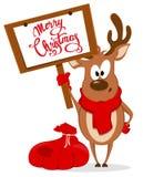 Grußkarte der frohen Weihnachten mit dem lustigen Ren, das nahe steht Stockbild