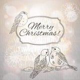 Grußkarte der frohen Weihnachten mit Dompfaffen Lizenzfreies Stockfoto