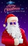 Grußkarte der frohen Weihnachten mit kühlem Weihnachtsmann stock abbildung