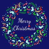 Grußkarte der frohen Weihnachten mit Kranz, Weinlese-Hintergrund mit Typografie und Elementen - Socke, Fichte, Tannenbaum, Lutsch Lizenzfreie Abbildung