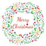 Grußkarte der frohen Weihnachten mit Kranz, Weinlese-Hintergrund mit Typografie und Elementen - Socke, Fichte, Tannenbaum, Lutsch Stock Abbildung