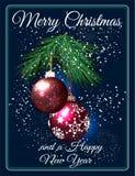 Grußkarte der frohen Weihnachten mit roten runden Samenkapseln und Niederlassung der Tanne Lizenzfreie Stockfotos