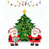 Grußkarte der frohen Weihnachten mit Santa Claus vektor abbildung