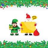 Grußkarte der frohen Weihnachten mit Santa Claus lizenzfreie abbildung