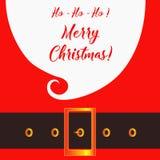 Grußkarte der frohen Weihnachten mit Santa Claus Santa Claus mit der Tasche der Geschenke Sankt-` s Schnurrbart und Gläser Santa  Lizenzfreie Stockbilder