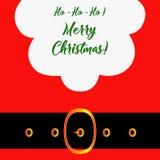 Grußkarte der frohen Weihnachten mit Santa Claus Santa Claus mit der Tasche der Geschenke Sankt-` s Schnurrbart und Gläser Santa  Stockfoto