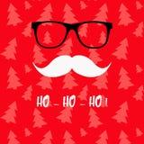 Grußkarte der frohen Weihnachten mit Santa Claus Santa Claus mit der Tasche der Geschenke Sankt-` s Schnurrbart und Gläser Santa  Stockfotos